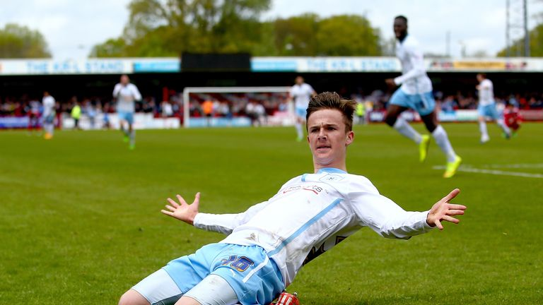 James Maddison of Coventry celebrates scoring against Crawley in May