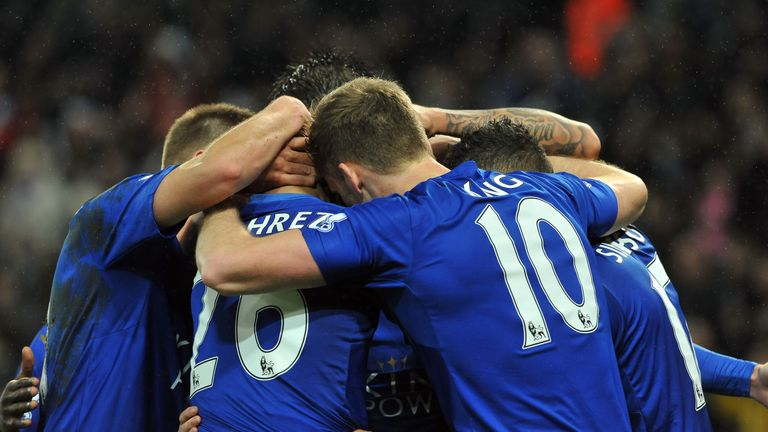 Jamie Vardy celebrates scoring during the Barclays Premier League match between Leicester City and Chelsea at the King Power Stadium on December 14