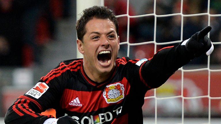 Javier Hernandez goal celeb, Bayer Leverkusen v Borussia Monchengladbach, Bundesliga, December 12, 2015