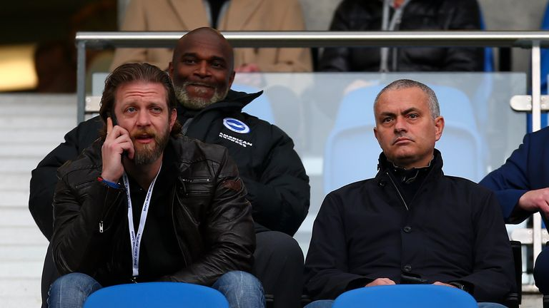 Mourinho took in the top-of-the-table Championship clash at Brighton