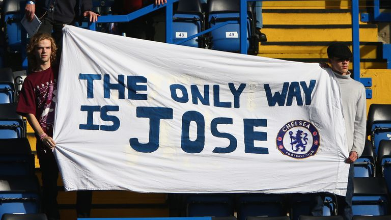 Chelsea fans still display banners supporting the stricken manager