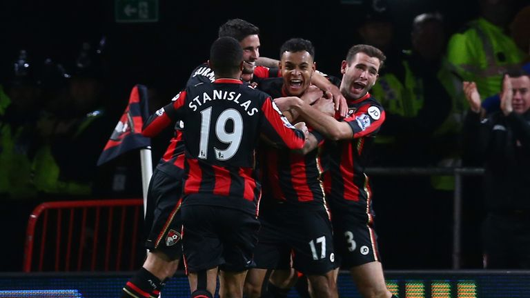 Joshua King (centre) hit the winner against United