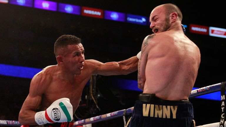 Kevin Mitchell was floored twice in the fifth round by Barroso