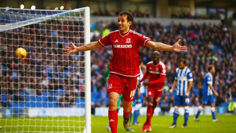 Christian Stuani of Middlesbrough celebrates a 3-0 win that ended Brighton's unbeaten run