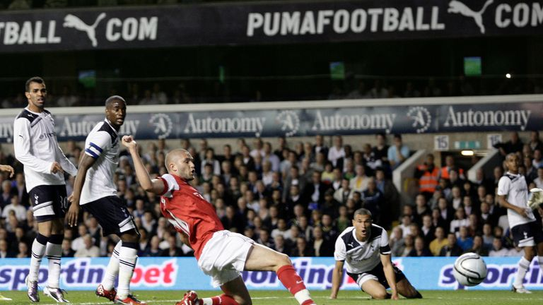 Lansbury scores for Arsenal in their 4-1 League Cup victory over north London rivals Tottenham in September 2010