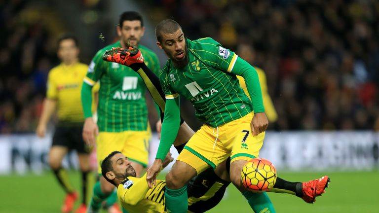 Lewis Grabban and Christian Fuchs compete for the ball during the Barclays Premier League match between Norwich City and Watford