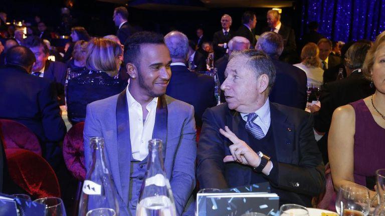 Hamilton and FIA president Jean Todt in conversation (FIA image)