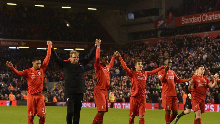 Liverpool players celebrate after Divock Origi equaliser v West Brom, Premier League