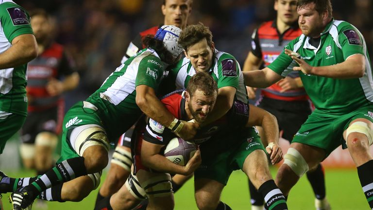 Mike Coman (with ball) in action for Edinburgh Rugby against London Irish