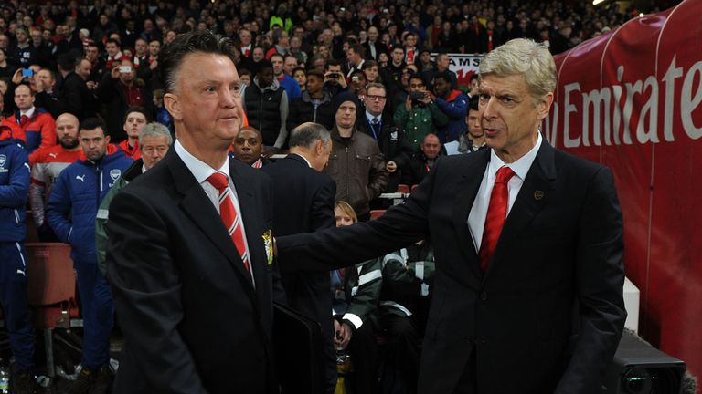Louis van Gaal and Arsene Wenger will do battle at Old Trafford at the end of February - live on Sky