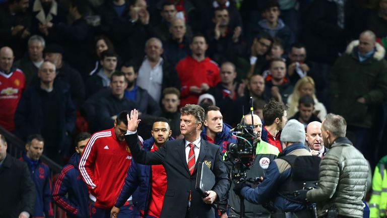 Louis van Gaal waves to the crowd ahead of United's clash with Chelsea at Old Trafford