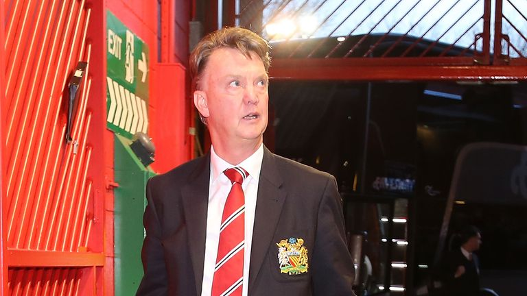 Louis van Gaal arrives at Old Trafford ahead of the Barclays Premier League match between Manchester United and Chelsea