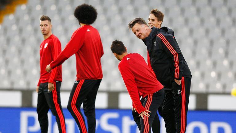 Manchester United manager Louis van Gaal speaks to Javier Hernandez back in August