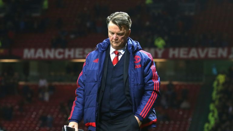 Louis van Gaal of Manchester United walks off after the Premier League draw with West Ham United at Old Trafford on December 05, 2015