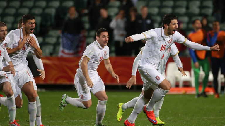 Marko Grujic, victory celeb, Serbia U20s v USA U20s, FIFA Under-20 World Cup, June 2015