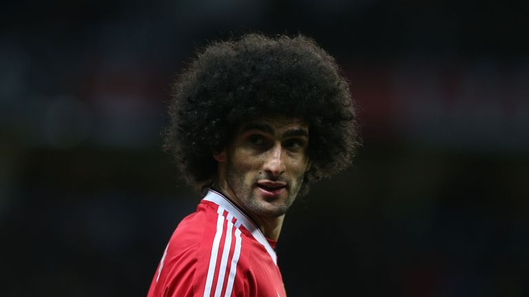 Marouane Fellaini in action during the Barclays Premier League match between Manchester United and West Ham United