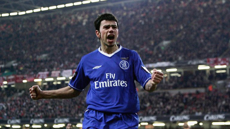 Mateja Kezman of Chelsea celebrates in the 2004 League Cup final