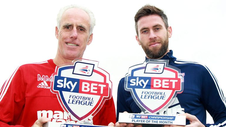Ipswich manager Mick McCarthy and striker Daryl Murphy with their awards