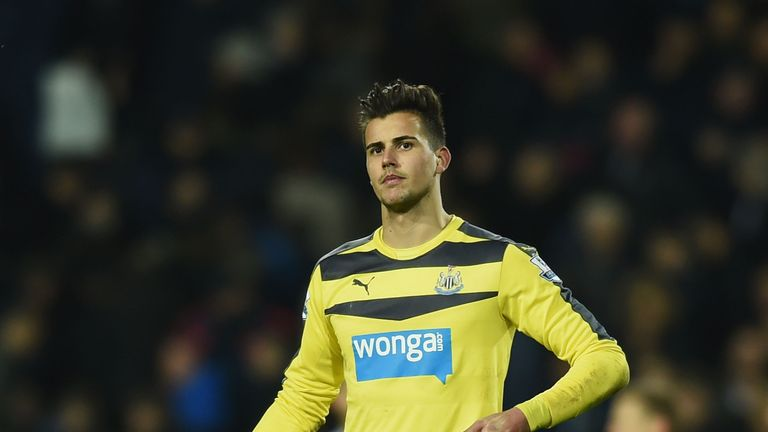 Newcastle's Karl Darlow leaves the pitch after his team's 0-1 defeat