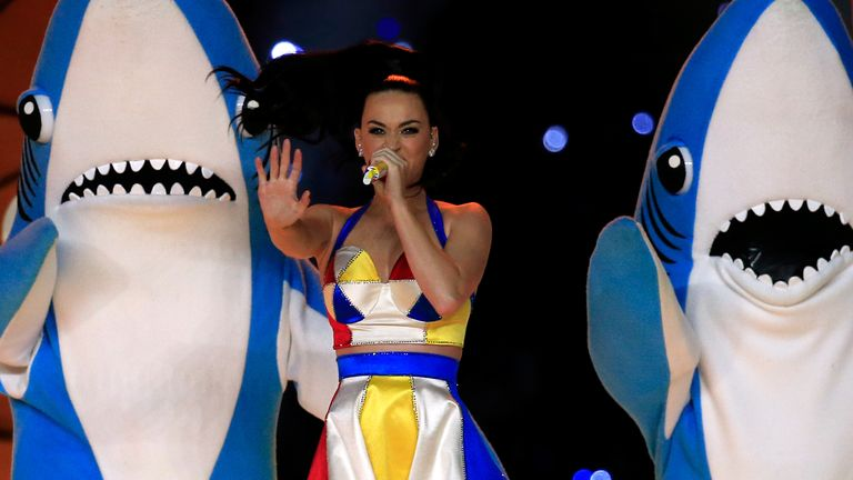 Katy Perry is  upstaged during her Super Bowl performance by 'left shark'[