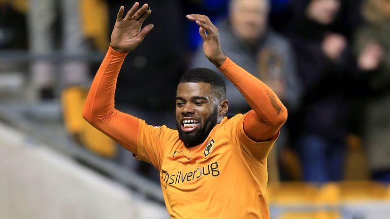 Wolves' Ethan Ebanks-Landell celebrates after scoring against Nottingham Forest