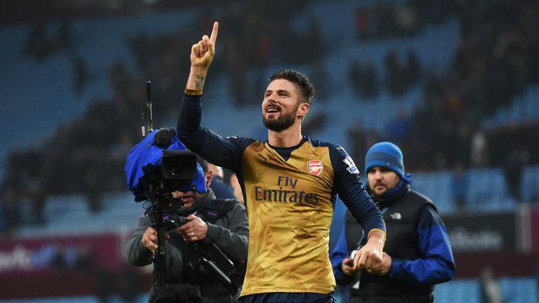 Olivier Giroud of Arsenal celebrates victory