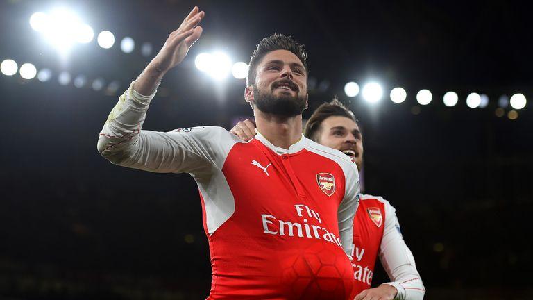 Olivier Giroud celebrates after scoring Arsenal's second goal in a 3-1 win over Sunderland