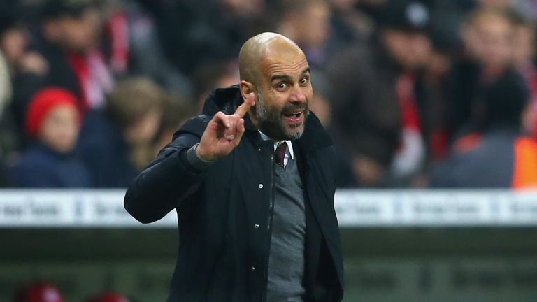 Pep Guardiola, head coach of Muenchen reacts during the round of 16 DFB Cup match between FC Bayern Muenchen and Darmstadt 98 at Allianz Arena
