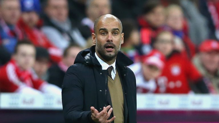 Pep Guardiola, head coach of Bayern Muenchen reacts   during the Bundesliga match between FC Bayern Muenchen and FC Ingolstadt