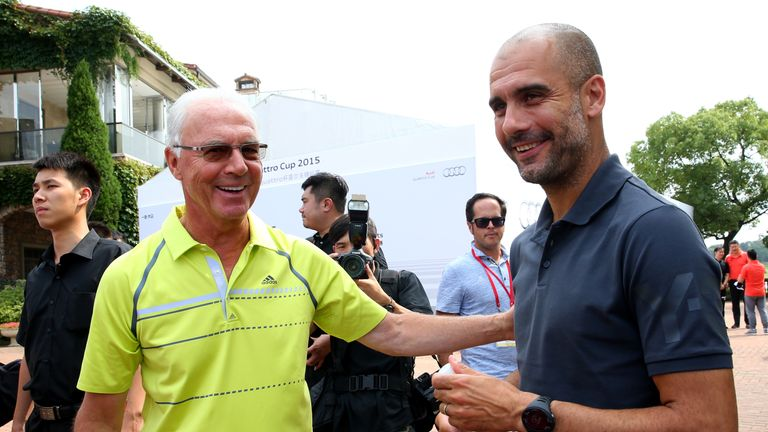 Pep Guardiola talks to Franz Beckenbauer at the Audi quattro Cup 2015 at Sheshan Golf Club during day 4 of the FC Bayern Audi China Summer Pre-Season Tour