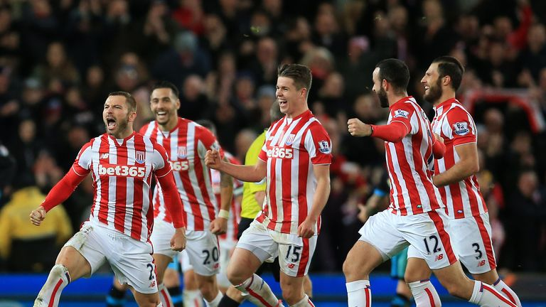 Phil Bardsley celebrates his goal for Stoke
