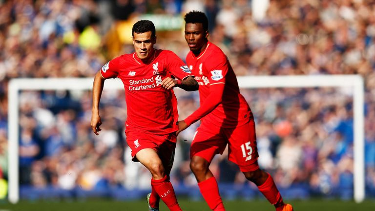Philippe Coutinho (L) and Daniel Sturridge of Liverpool in action during the Barclays Premier League match between Everton and Liverpool
