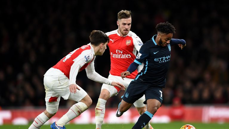 Raheem Sterling holds off Hector Bellerin  (L) and Aaron Ramsey