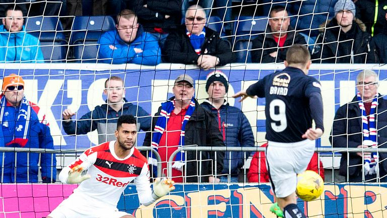 Falkirk's John Baird scores his side's opening goal from the penalty spot against Rangers