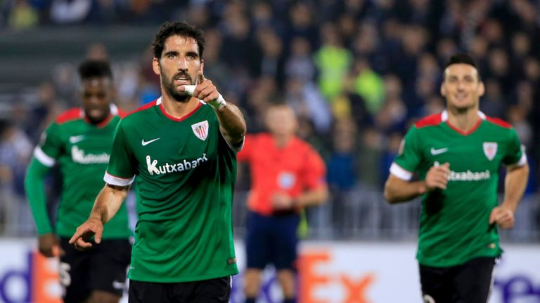 Raul Garcia celebrates his goal during the UEFA Europa League Group L football match between Partizan and Athletic Bilbao on October 22, 2015