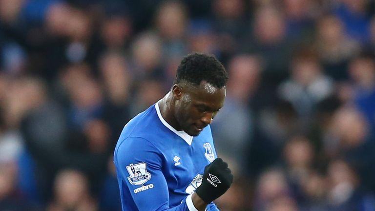 Romelu Lukaku of Everton celebrates scoring his team's equalising goal against Stoke City to make it 1-1