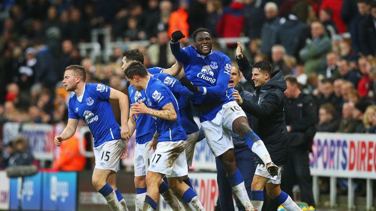 Romelu Lukaku celebrates Tom Cleverley's late winner at Newcastle