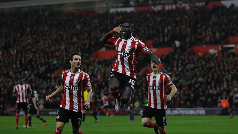 Sadio Mane celebrates scoring in the opening minute of the match