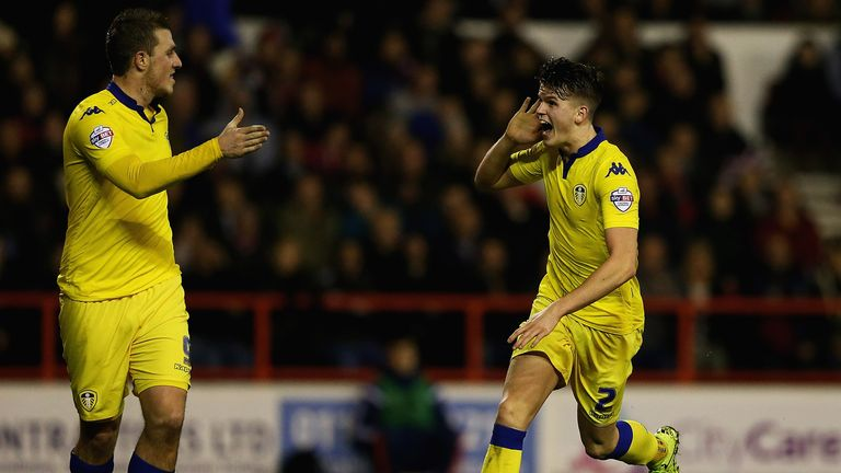 Sam Byram of Leeds United celebrates his goal
