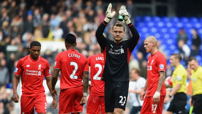 Simon Mignolet of Liverpool applauds