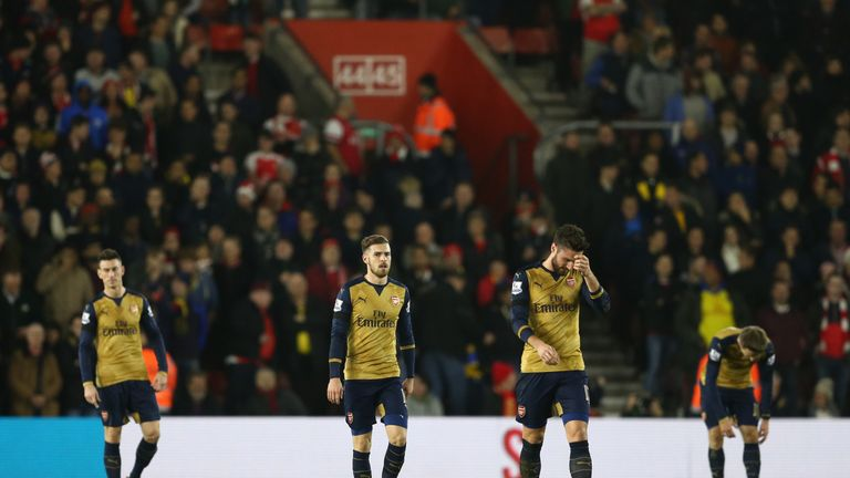 Arsenal players look dejected as Southampton took the lead at St Mary's