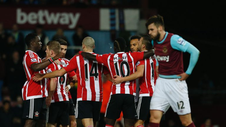 Southampton celebrate after taking a 13th minute lead