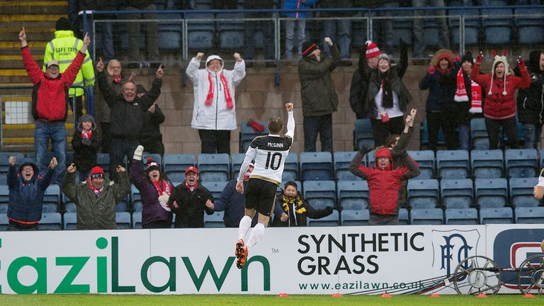 Niall McGinn celebrates his opening goal for Aberdeen at Dens Park