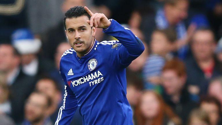 Pedro of Chelsea celebrates scoring his team's second goal against Sunderland