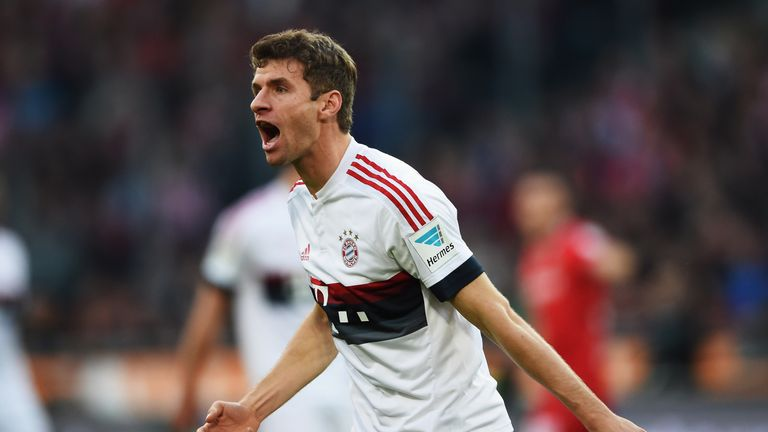 Thomas Muller celebrates during Bayern Munich's 2-1 win over Hannover
