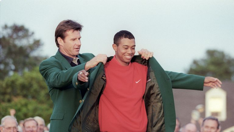 Woods set both a new course record and became the youngest ever Masters champion in 1997