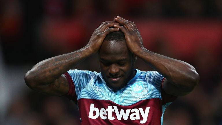 Victor Moses reacts during the Barclays Premier League match between Manchester United and West Ham United