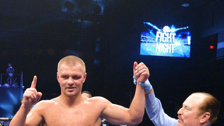 BETHLEHEM, PA - AUGUST 09: Vyacheslav Glazkov of Ukraine celebrates his majority decision over Derric Rossy at Bethlehem Event Center on August 9, 2014 in