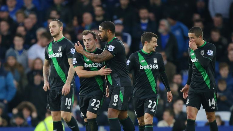 Stoke's Xherdan Shaqiri netted twice in the win over the Toffees