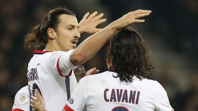 Zlatan Ibrahimovic celebrates with Edinson Cavani